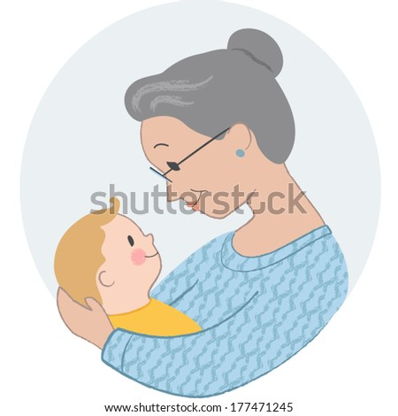 Vector Illustration of Elderly Woman Holding a Baby - stock vector