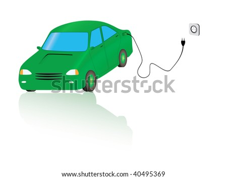 Vector illustration of electric car getting charged - stock vector