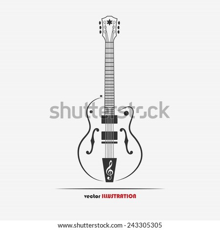 Vector illustration of electric guitar for your design - stock vector