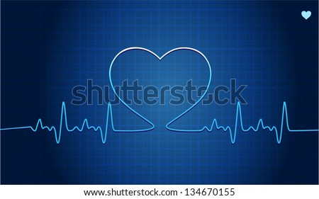 Vector illustration of Electrocardiogram with heart silhouette - stock vector