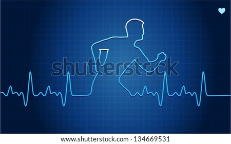 Vector illustration of Electrocardiogram with runner silhouette - stock vector