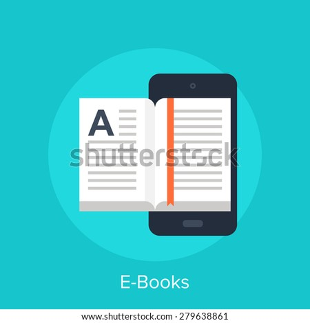Vector illustration of electronic books flat design concept.