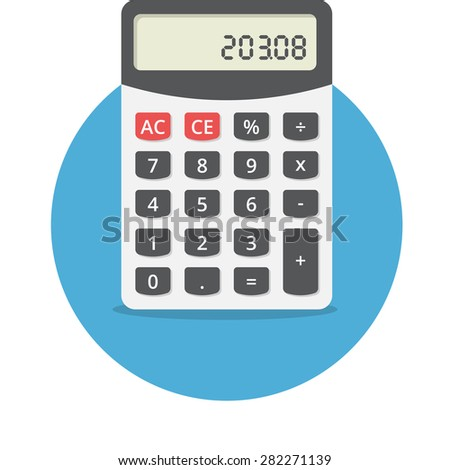 Vector illustration of electronic calculator, flat design