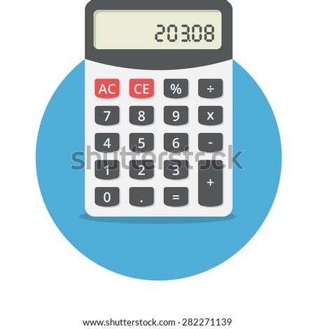 Vector illustration of electronic calculator, flat design - stock vector