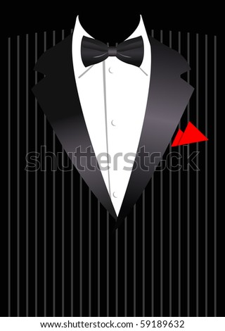 Vector illustration of elegant business suit with black bow - stock vector