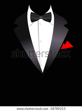 Vector illustration of elegant business suit with bow