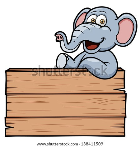 Vector illustration of Elephant cartoon with a wooden sign