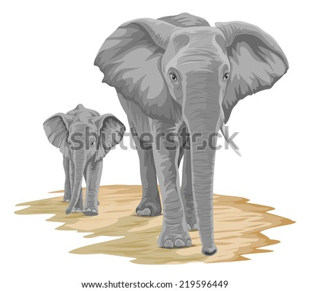 Vector illustration of elephant walking with calf. - stock vector