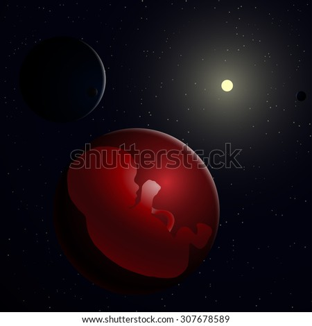 vector illustration of embryo, germ design, baby, fetus concept, nucleus, life, embryo in space, sun and planet - stock vector
