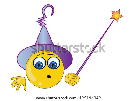 vector illustration of emoticon with magic stick - stock vector