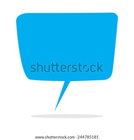 Vector illustration of empty blue speech balloon isolated on white - stock vector