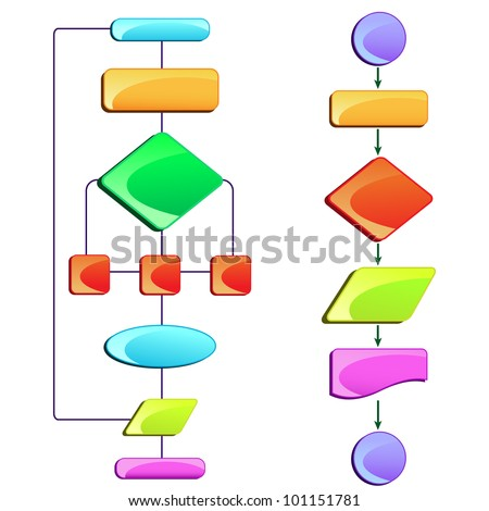 vector illustration of empty flow chart diagram with colorful block - stock vector
