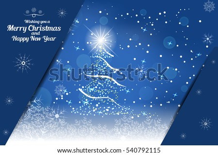 Vector illustration of empty greetings card for Merry Christmas and Happy New Year on the abstract blue background with christmas tree, snowfall, snowflakes and pockets for insert.