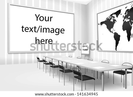 Vector illustration of empty meeting room or board room with isolated places for texts or images - stock vector
