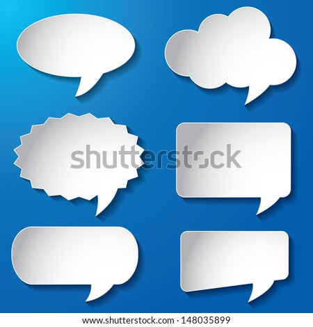 vector illustration of Empty speech bubbles paper on blue background - stock vector