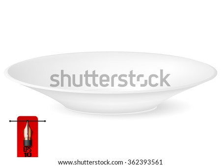 Vector illustration of empty white plate perspective view. isolated on white background - stock vector