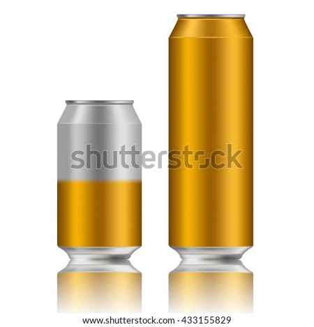 Vector illustration of energy drink cans in different colors, Aluminum Cans Empty 500 and 330 ml. isolated on white background