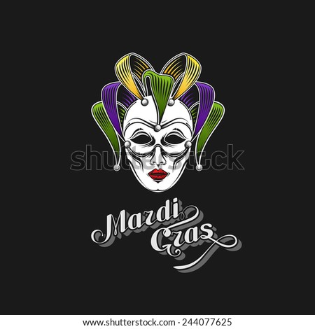vector illustration of engraving Mardi Gras or Shrove Tuesday carnival mask emblem and ornate lettering logo. jester symbol - stock vector