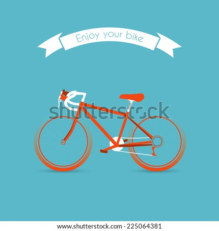 Vector illustration of Enjoy your bicycle image - stock vector