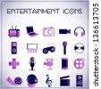 Vector illustration of entertainment icons on white-purple background - stock vector