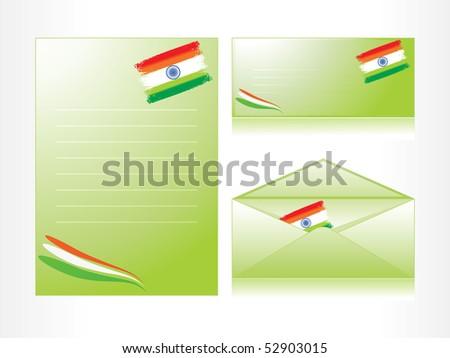 vector illustration of envelop, letterhead, postcard - stock vector