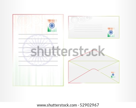vector illustration of envelop, postal card and letterhead - stock vector