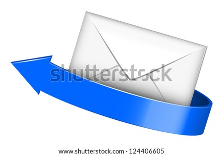 Vector illustration of envelope with blue arrow - stock vector