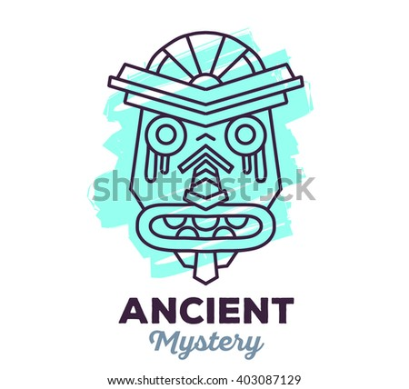 Vector illustration of ethnic tribal blue color mask with text on white background. Hand drawn line art design. Ethnic mask. Tribal mask. Vector mask. Mask eps. Mask line art. Ancient mask. - stock vector