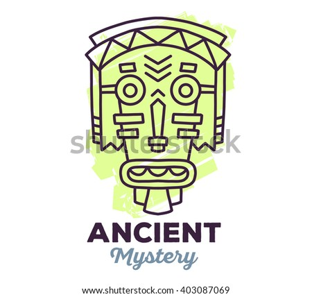 Vector illustration of ethnic tribal light green color mask with text on white background. Hand drawn line art design. Ethnic mask. Tribal mask. Vector mask. Mask eps. Mask line art. Ancient mask. - stock vector