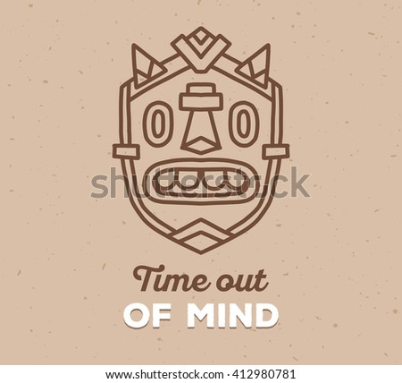 Vector illustration of ethnic tribal mask with white text on light brown color sand texture background. Hand drawn line art design. Ethnic mask. Tribal mask. Vector ancient mask line art. - stock vector