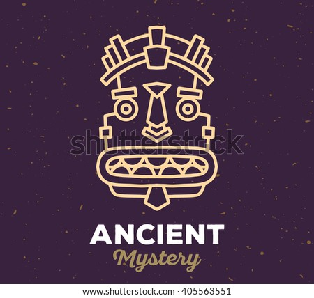 Vector illustration of ethnic tribal yellow color mask with white text on dark sand texture background. Hand drawn line art design. Ethnic mask. Tribal mask. Vector mask. Mask line art. Ancient mask. - stock vector