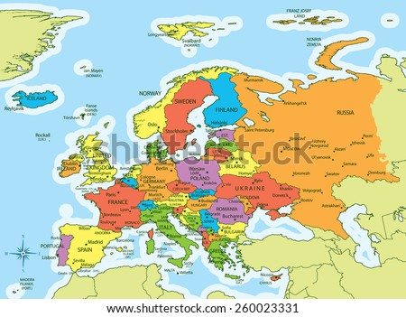 vector illustration of europe map with countries in different colors each country has its capital
