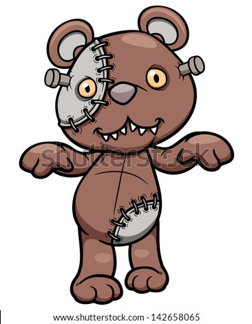 Vector illustration of Evil teddy bear - stock vector