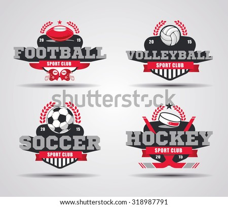 vector illustration of examples of design logos for sports teams and championships, volleyball logo, graphic logo soccer, logo football, hockey icon - stock vector