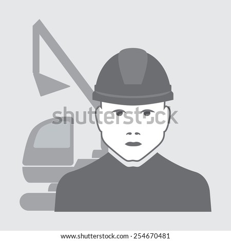 vector illustration of excavator operator with digger behind - stock vector