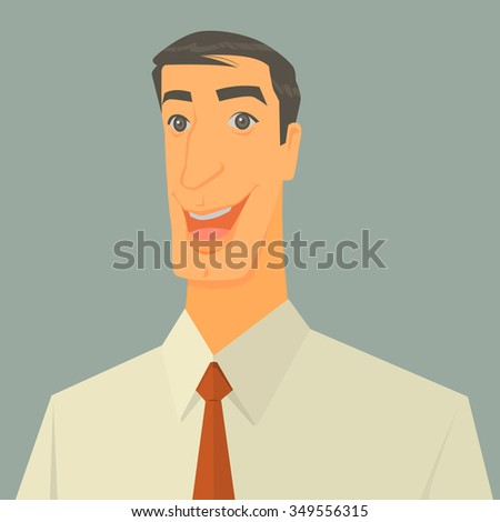 Vector Illustration of excited businessman over grey background. - stock vector