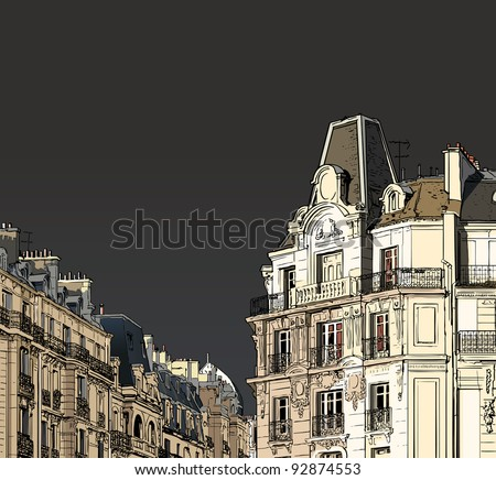 Vector illustration of facades in Paris in a stormy weather - stock vector