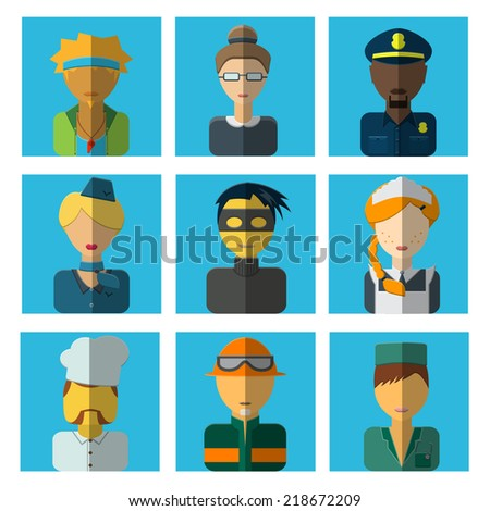 Vector Illustration of faces of profession for avatar, profile page, for app Design, Website, Background. Men, Women Job Characters Template. Set of flat people icons. Thief; medic; teacher; tutor;  - stock vector