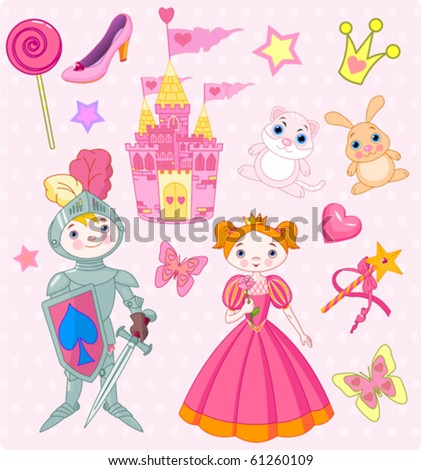 Vector Illustration of Fairy Tale design elements.