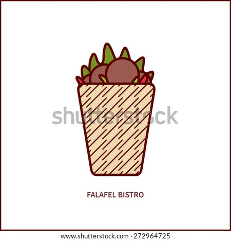 vector illustration of falafel bistro, can be used for logo, banner - stock vector