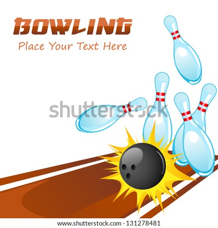 vector illustration of falling bowling pin with ball on alley