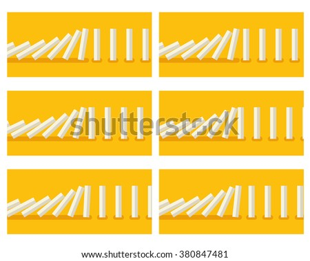 Vector illustration of falling white dominoes animation sprite with yellow background  - stock vector