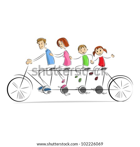 vector illustration of family enjoying tandem bicycle ride - stock vector