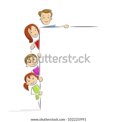 vector illustration of family holding blank placard - stock vector