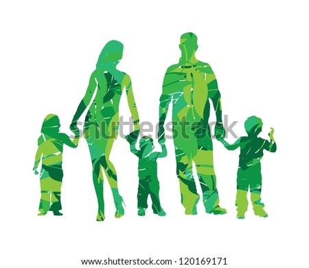 vector illustration of family silhouette in leaves - stock vector