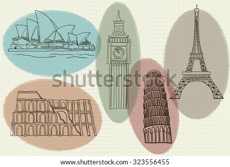 vector illustration of famous buildings in the world - stock vector