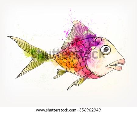 Vector illustration of Fantasy colorful fish. Watercolor splatters - stock vector