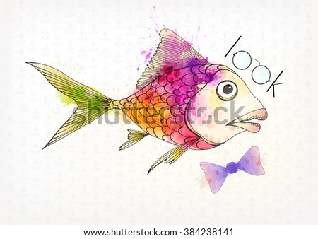 Vector illustration of Fantasy colorful fish. Watercolor splatters. Hipster fish. Look - stock vector