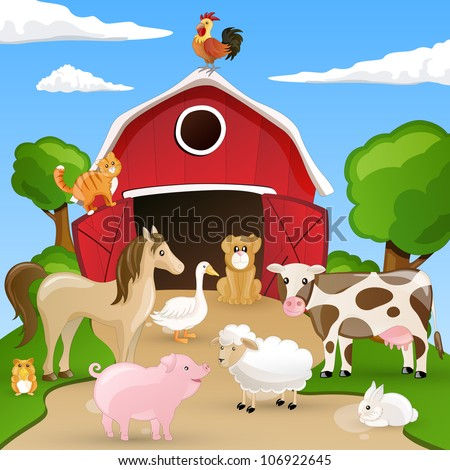 Vector illustration of farm animals - stock vector
