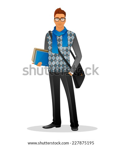 Vector illustration of Fashion man with blue scarf - stock vector